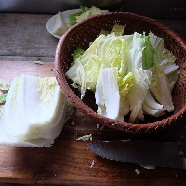 白菜を切ったところ