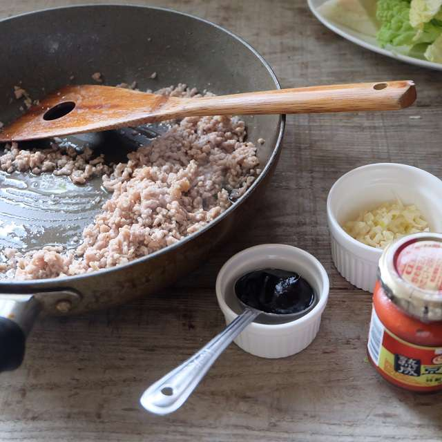 ひき肉をよく炒めたところ