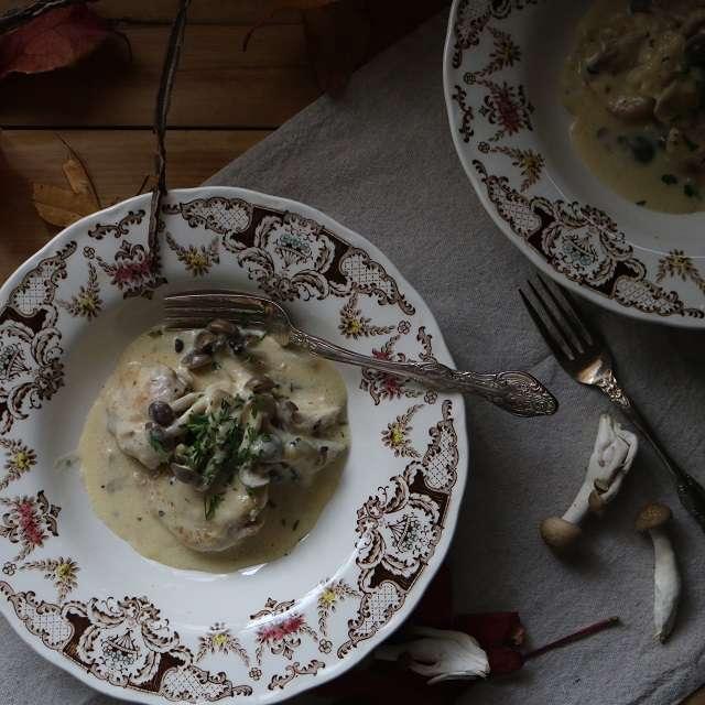 キノコと鶏肉の豆乳クリーム煮