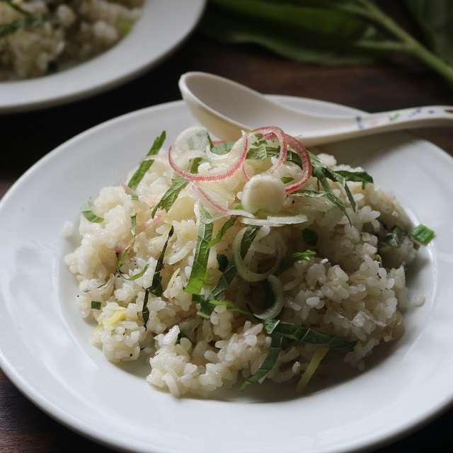 鶏がらスープの素と塩で味つけして器に盛り、残しておいたミョウガと大葉を散らす