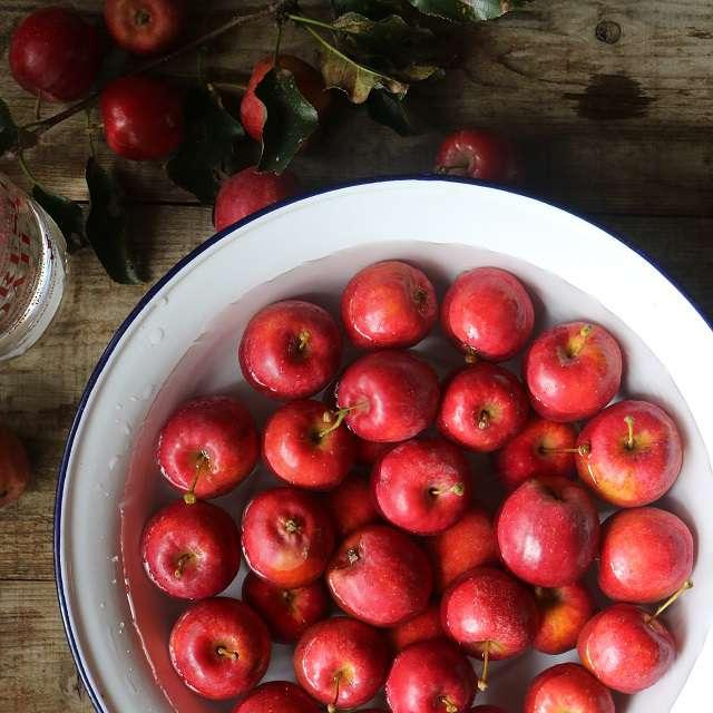 りんごを洗い、水分を拭き取る