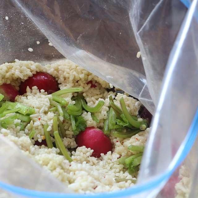 麹床に埋め込むようにラディッシュを漬ける