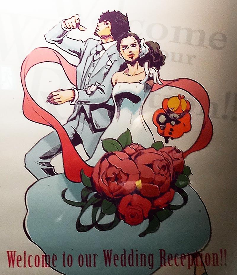 同僚の結婚式のために描いたWelcomeボード