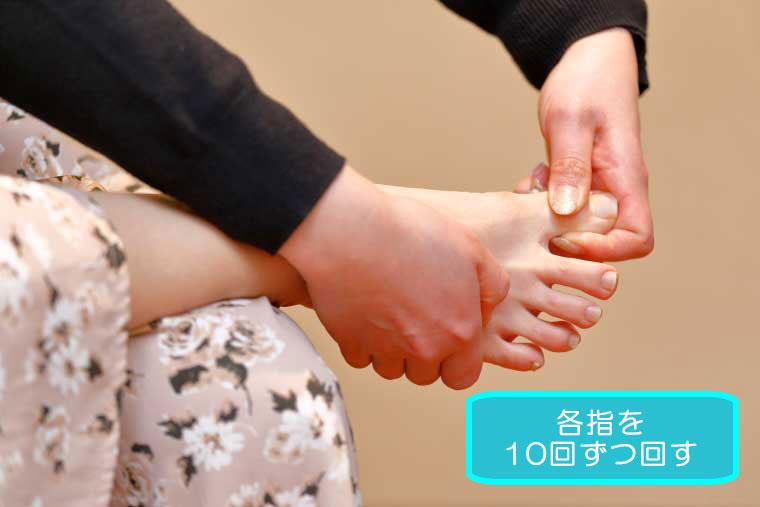 足のむくみ解消ストレッチ、足の指回し