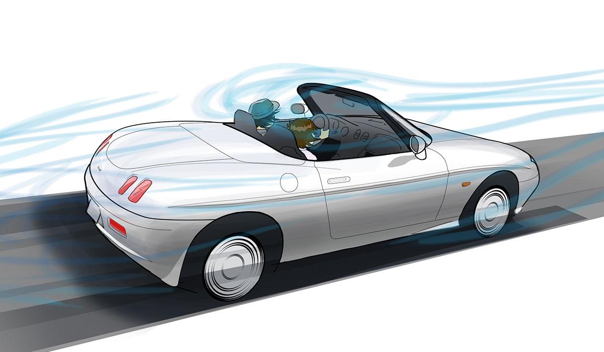 オープンカーと風の関係を描いたイラスト