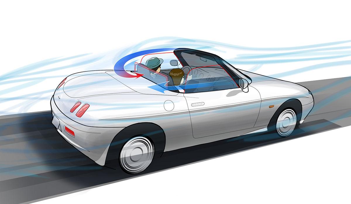 高速で走ったときのオープンカーと風とウインドデフレクターの関係