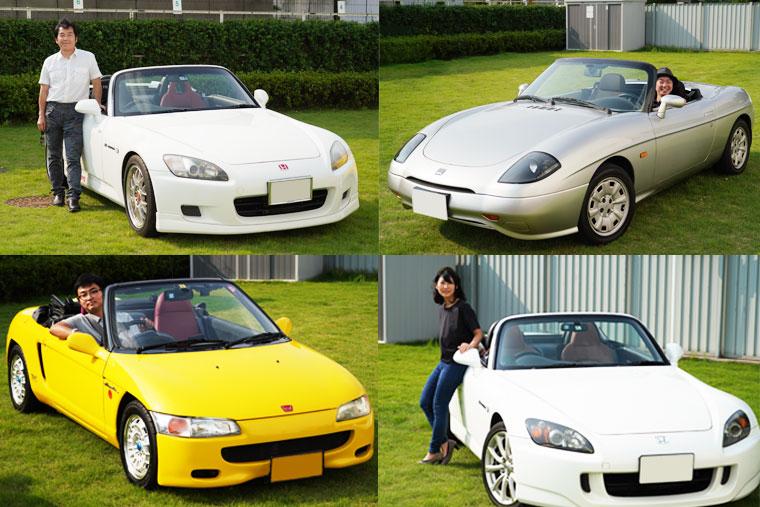 オープンカー乗り座談会4人と4台のオープンカーの写真