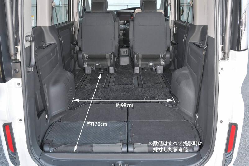 ステップワゴンスパーダの2列目を最前にし、3列目を床下に収納し、車中泊仕様にした車内とそのサイズ(幅・奥行)を紹介している写真