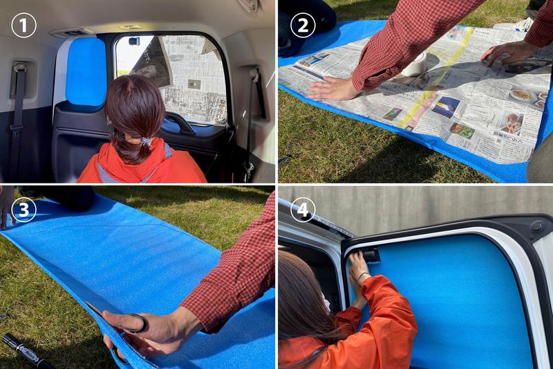 銀マットをウインドウ枠に沿ってカットし、車中泊用の目隠しシェードを自作DIYしている工程を説明した写真