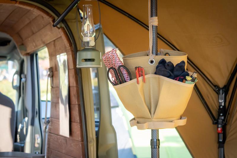 帆布の小物入れSPOONFUL(スプーンフル)のポールポケットを使っている写真