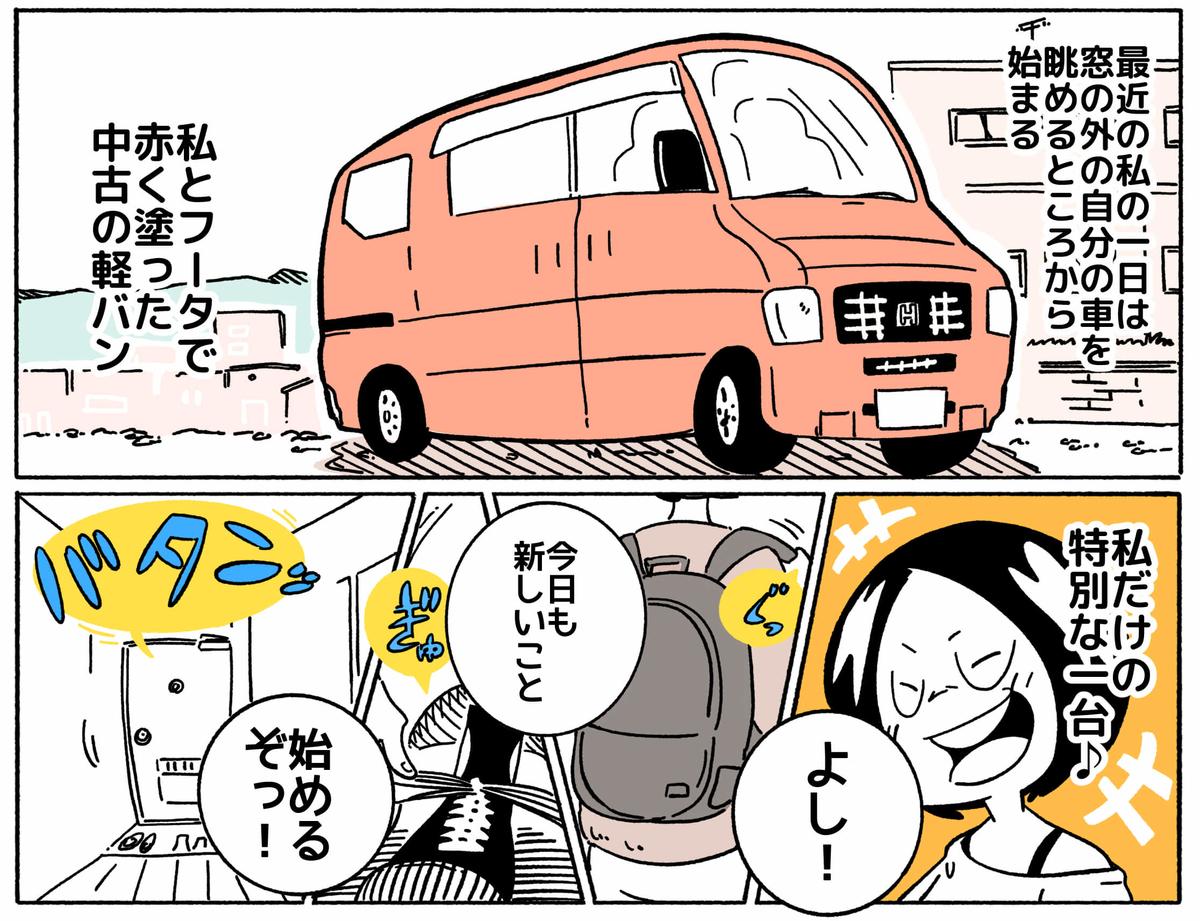 旅する漫画家シミによる連載「Wheeeels!」第4話の2コマ目