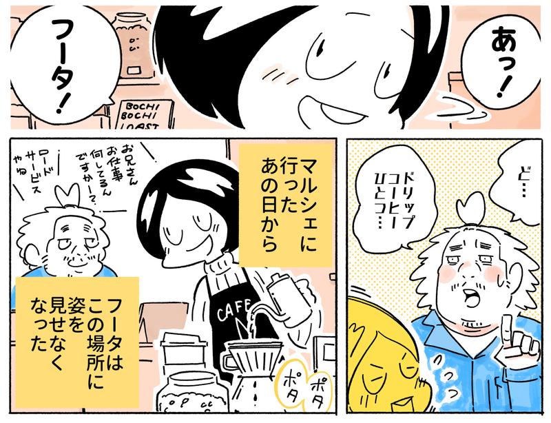旅する漫画家シミによる連載「Wheeeels!」第6話の3コマ目