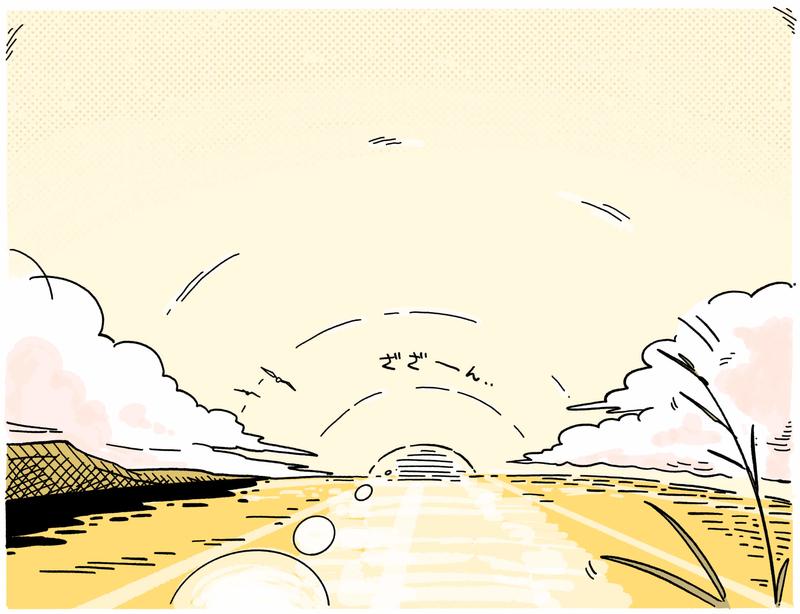 旅する漫画家シミによる連載「Wheeeels!」第6話の18コマ目