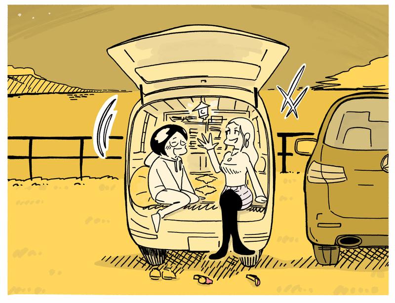 旅する漫画家シミによる連載「Wheeeels!」第6話の24コマ目