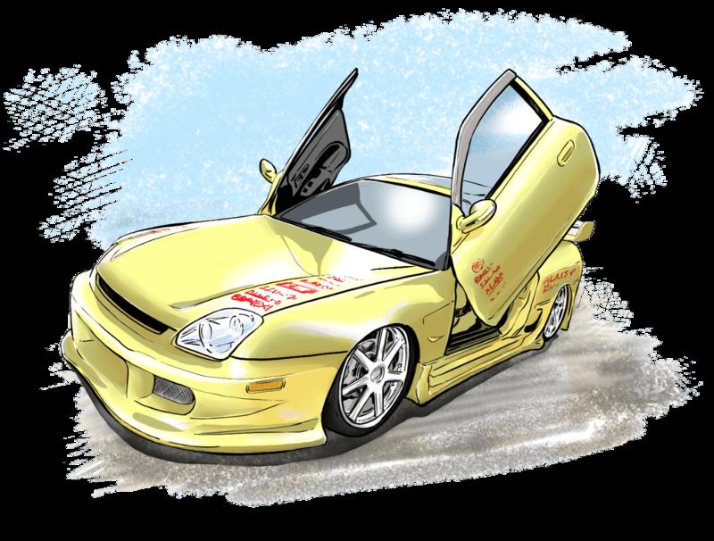 車のカスタム(スポーツコンパクト)を説明するイラスト