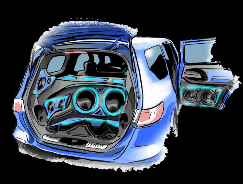 オーディオ系(Hi-Fi、カーシアター)という車のカスタムを説明するイラスト