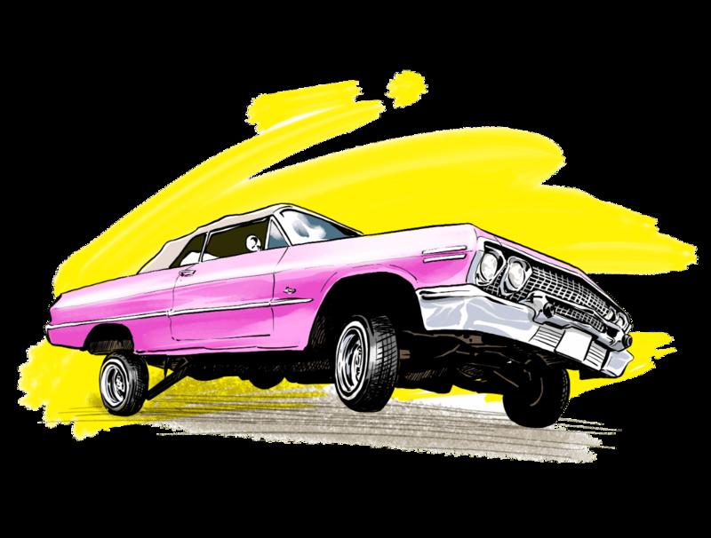 ローライダー、ハイドロという車のカスタムを説明するイラスト