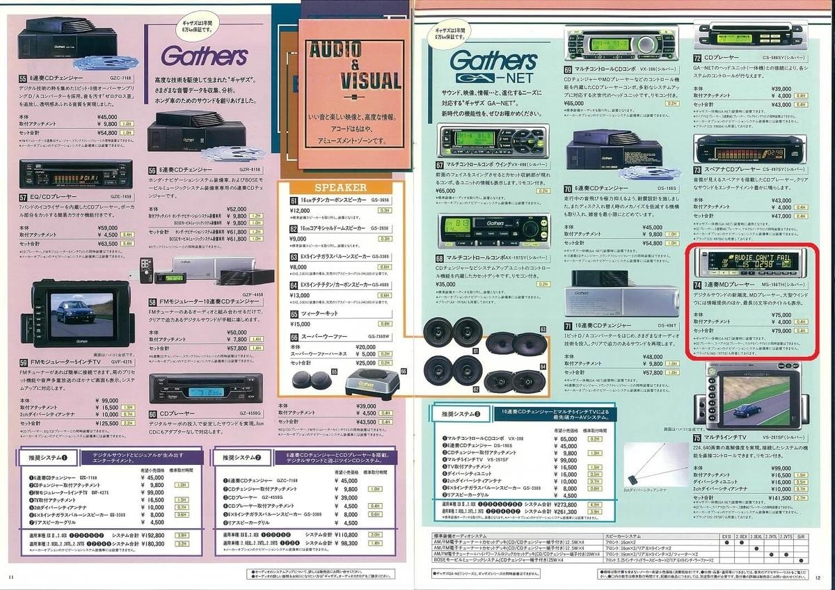 1997年のHondaアコードのカタログのオーディオのページ