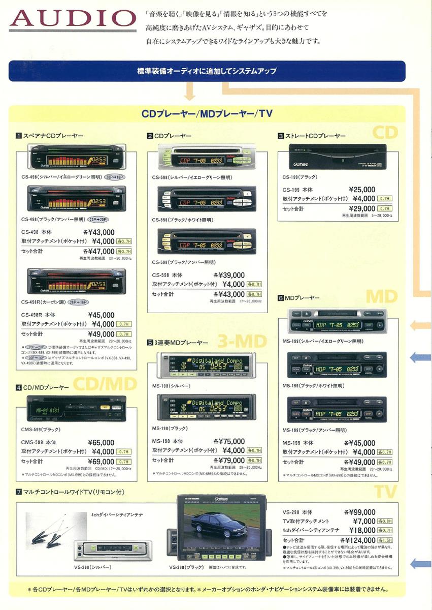 1999年のHondaアコードのカタログのオーディオのページ