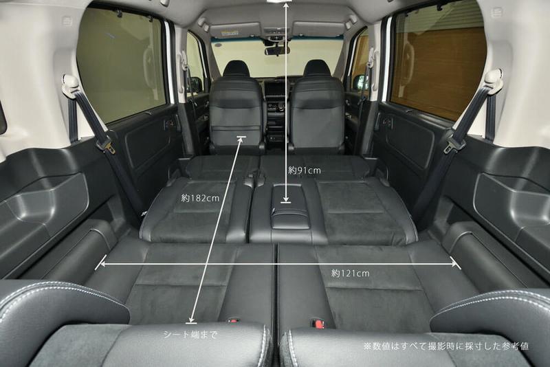 フリード(ベンチシート)の2列目シートを倒しフラットにした車内荷室のサイズ(横幅、縦長さ、高さ)を示した写真
