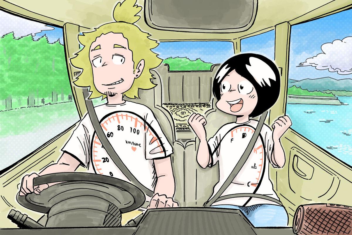 シートベルトが似合うTシャツ企画【カエライフ最優秀賞】のTシャツをきた旅する漫画家シミさんによるイラスト