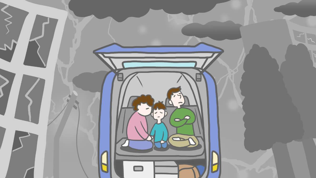 緊急時の車中泊のイメージイラスト