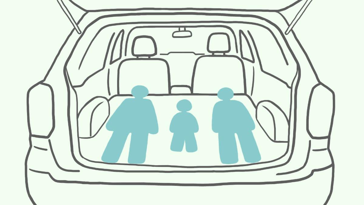 シートを倒して車中泊する場合のイメージイラスト