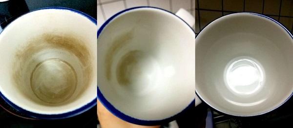 マグカップの茶渋を落とす