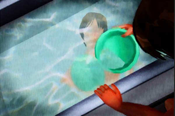 昭和京都の怪談綴りによる風呂の水面に逆に映る姿