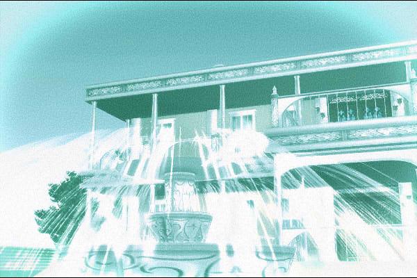 昭和京都の怪談綴りによる不思議な白い豪邸の正面イメージ