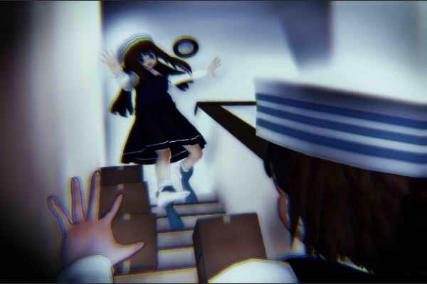 昭和京都の怪談綴りによる死神に両足を取られて転げ落ちそうな少女