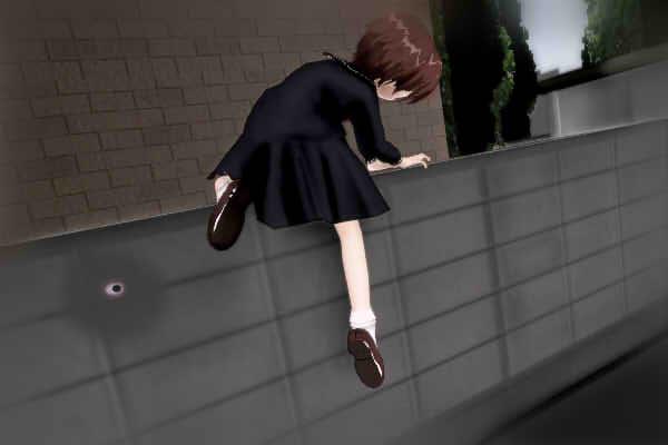 昭和京都の怪談綴りによる伏見の古い空家の塀に登る伏見七狐