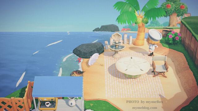 【あつ森】海辺のカフェとかいがらのテーブル