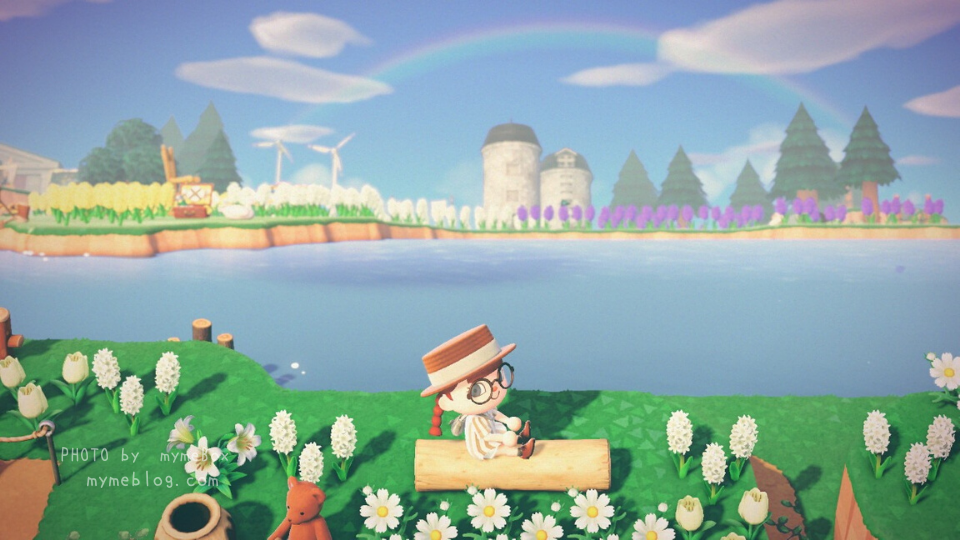 【あつ森】大きな湖とヒヤシンスの花畑(虹)