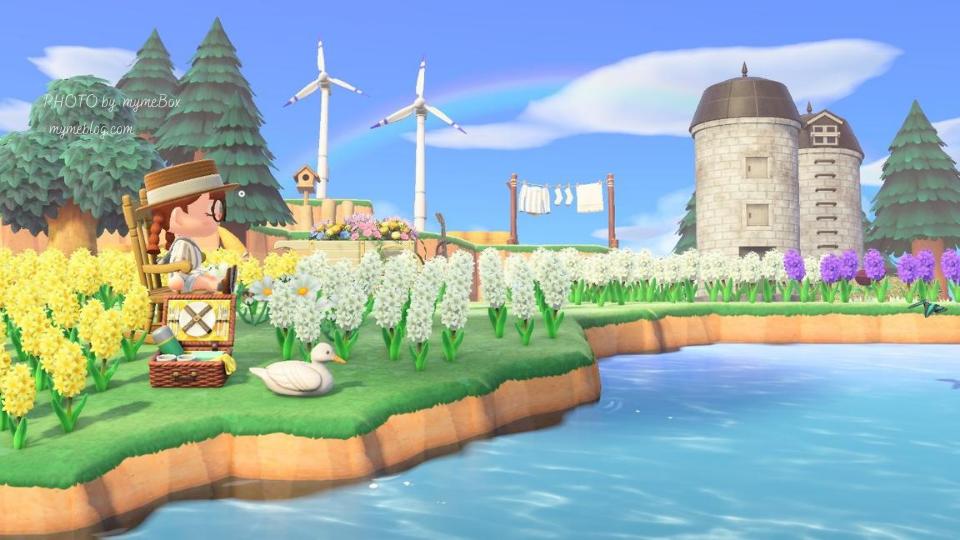 【あつ森】湖畔のヒヤシンスの花畑