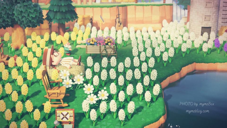 【あつ森】ヒヤシンスの花畑と干し草のベッド