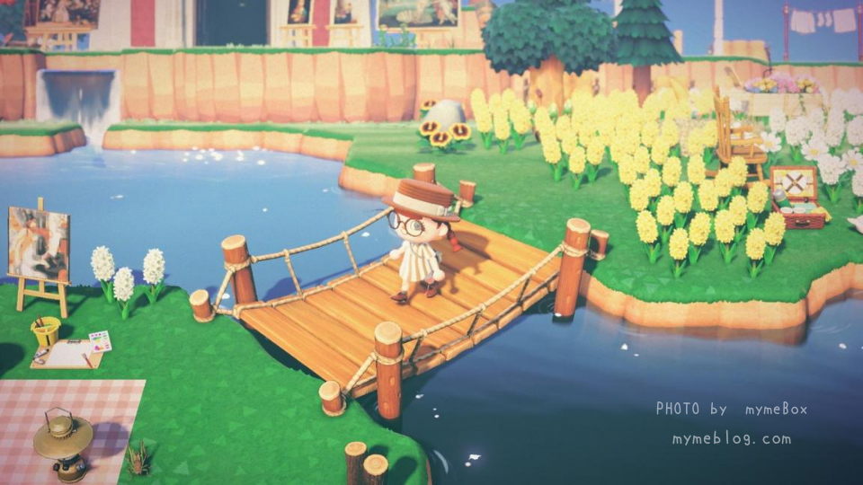 【あつ森】ヒヤシンスの花畑と吊り橋