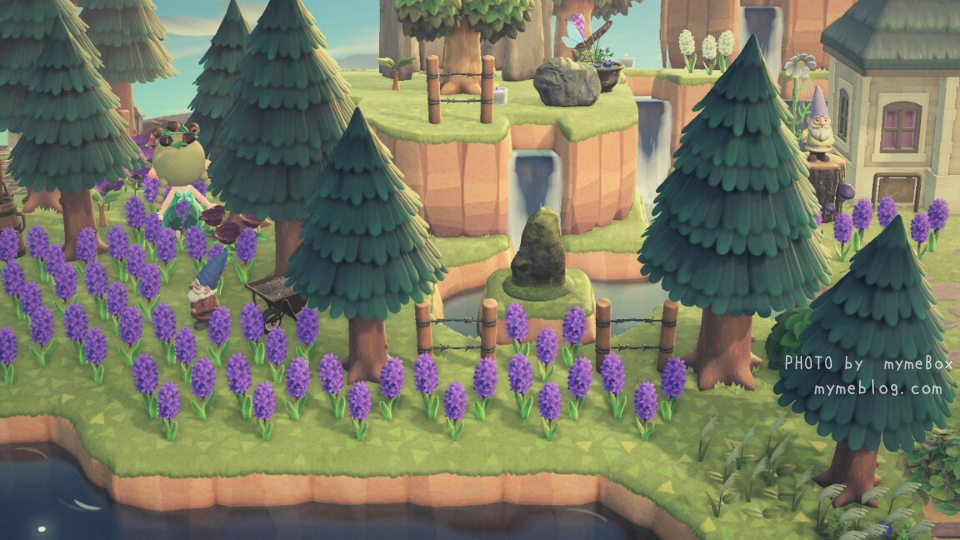 【あつ森】ナタリーさんのお家周りの紫のヒヤシンス