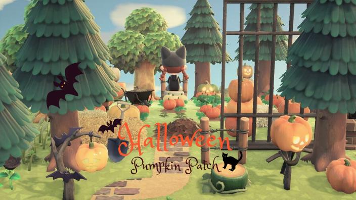 【あつ森】ハロウィンのかぼちゃ畑のレイアウト