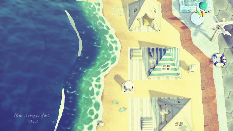 【あつ森】砂浜のおしゃれなレイアウト