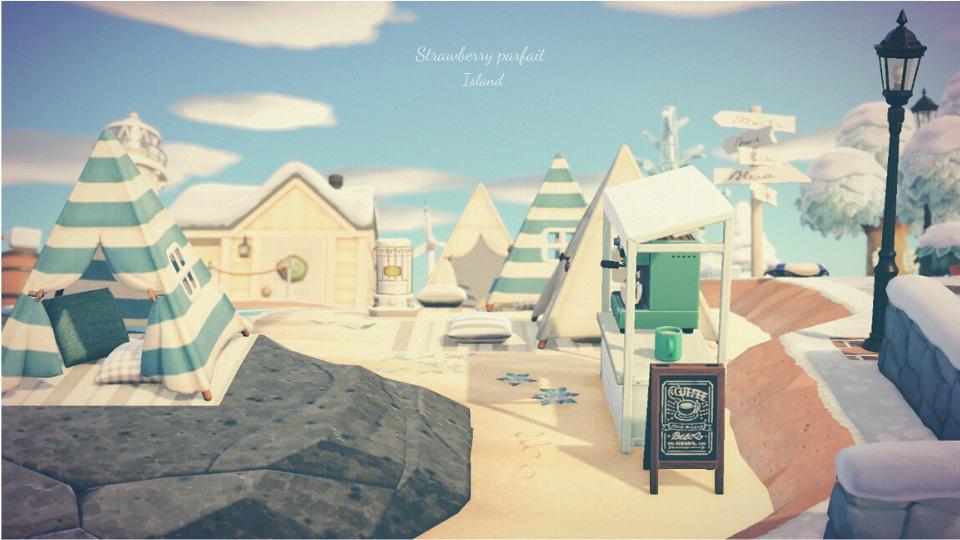 【あつ森】岬と砂浜のおしゃれなカフェ