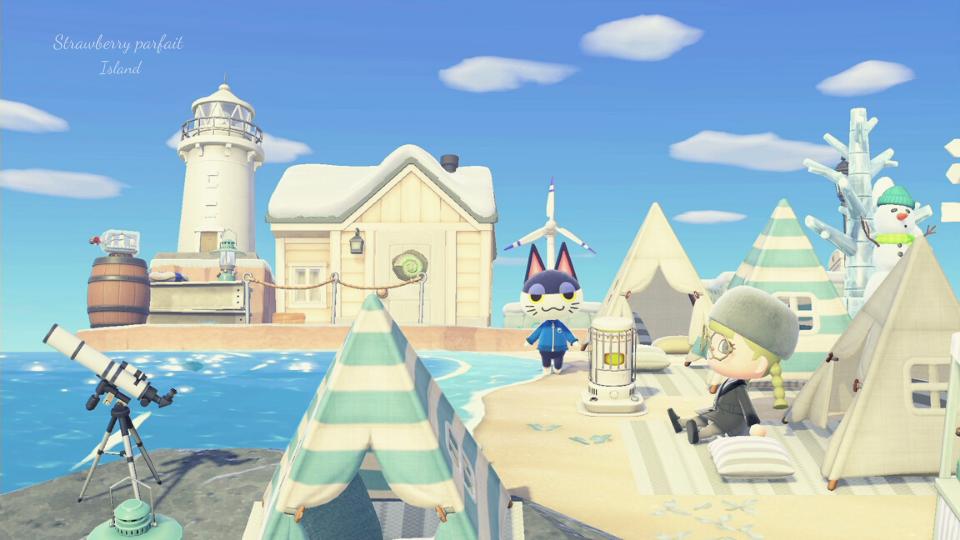 【あつ森】岬と砂浜のグランピングカフェ