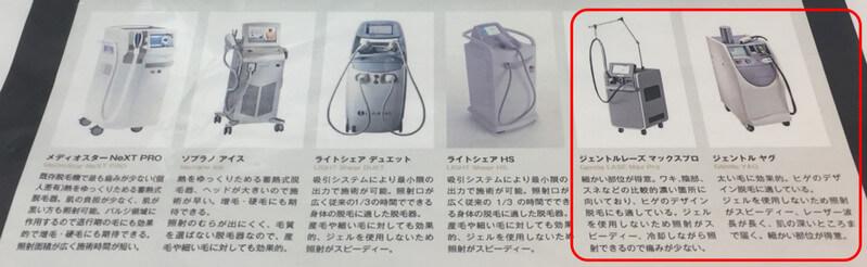脱毛レーザー器具6種類と説明。