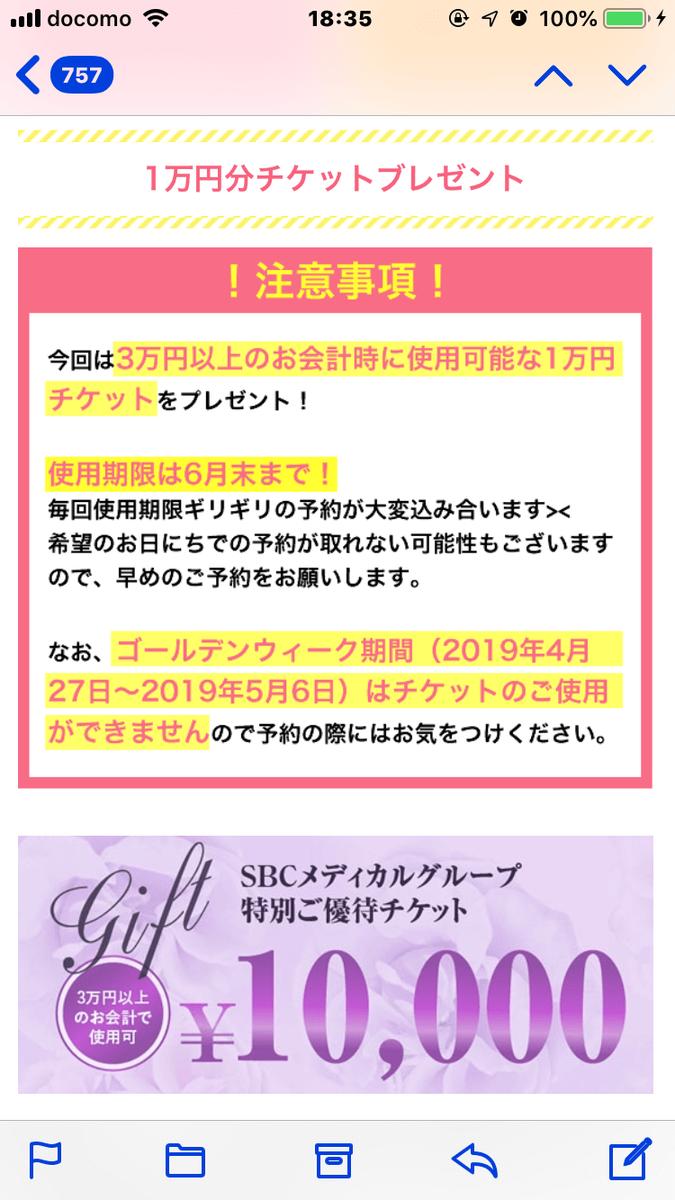1万円割引のメール文面