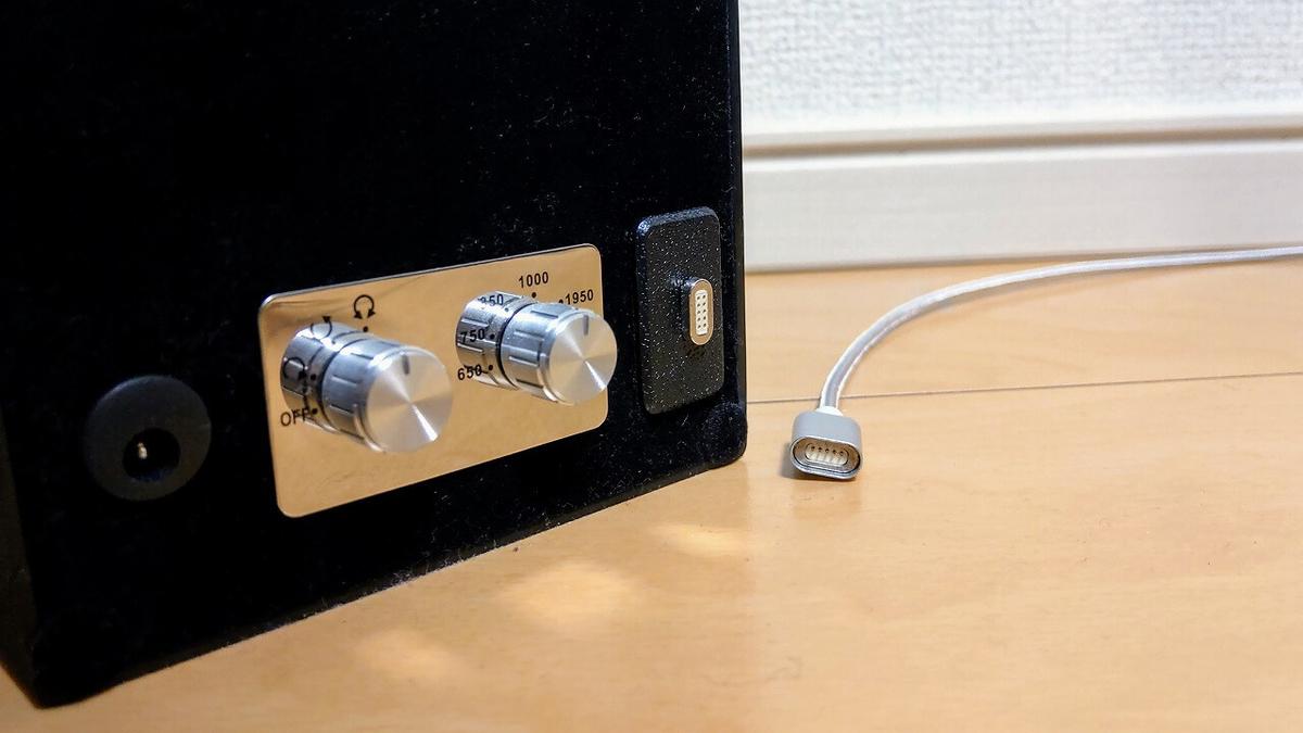 Abies ワインディングマシーンにマグネットケーブルを接続