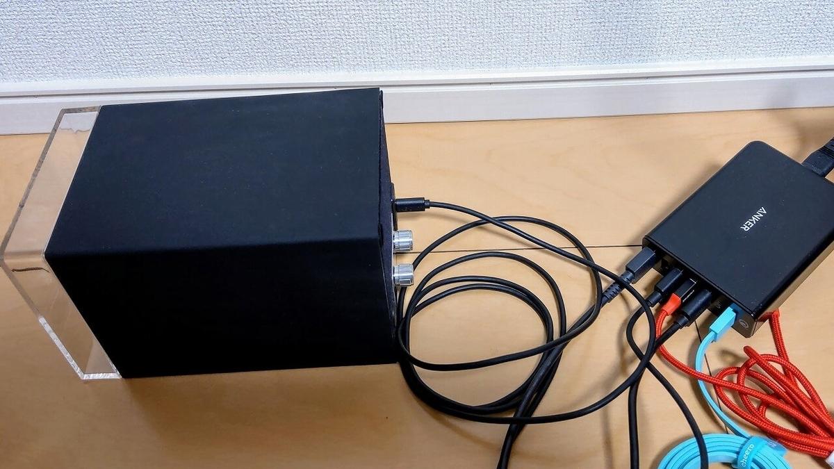 Abies ワインディングマシーンにUSB多ポート充電器を接続
