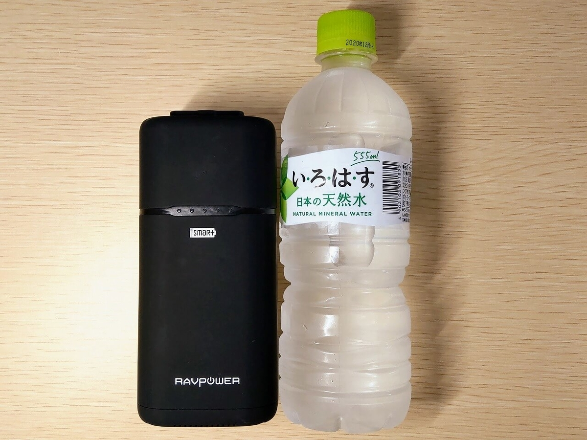 RAVPower RP-PB054と500mlペットボトルをサイズ比較 長さ