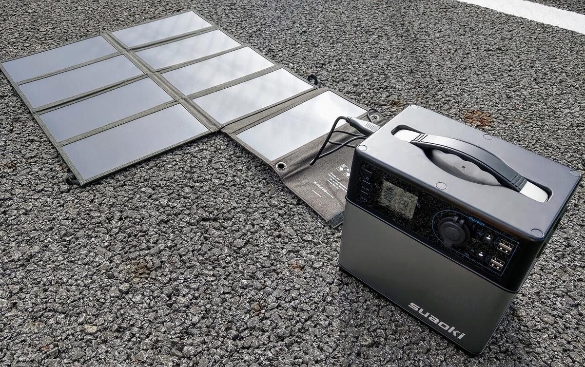 suaoki PS5B 120000mAh ポータブル電源にソーラーチャージャーで充電