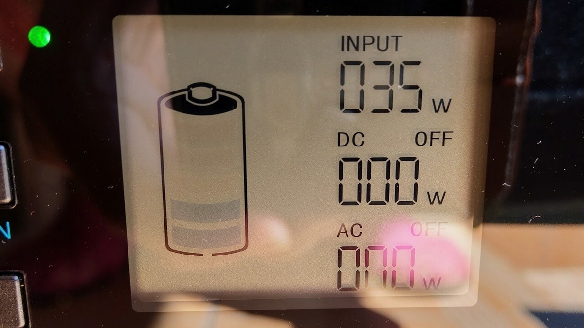 suaoki PS5B 120000mAh ポータブル電源を太陽光でソーラー充電(晴れの日)
