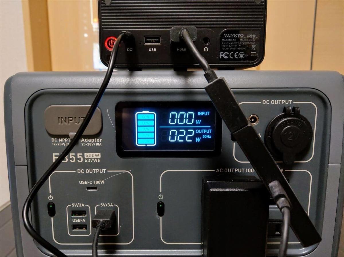 VANKYO GO300とFire TV StickをAC出力対応のポータブル電源で充電
